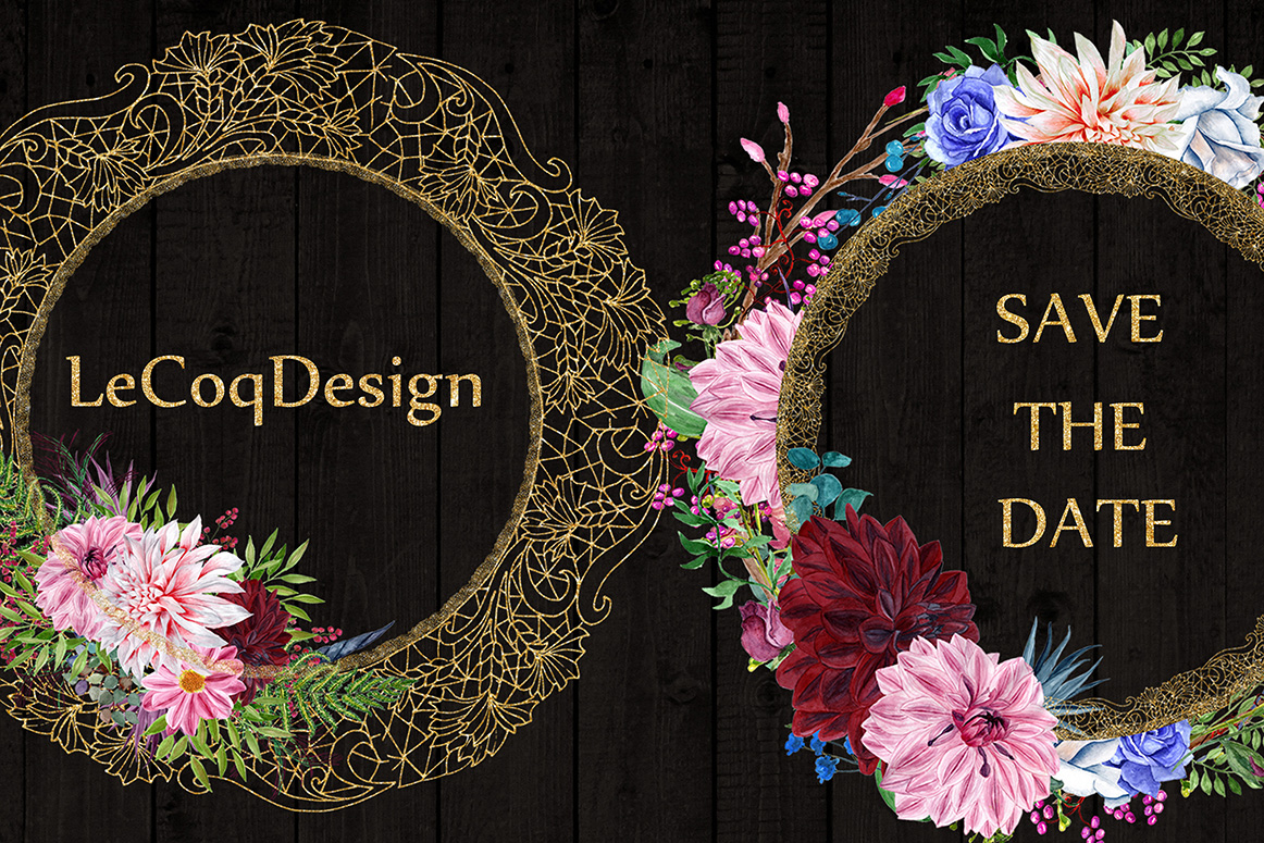 Gold Lace frames clipart example image 3