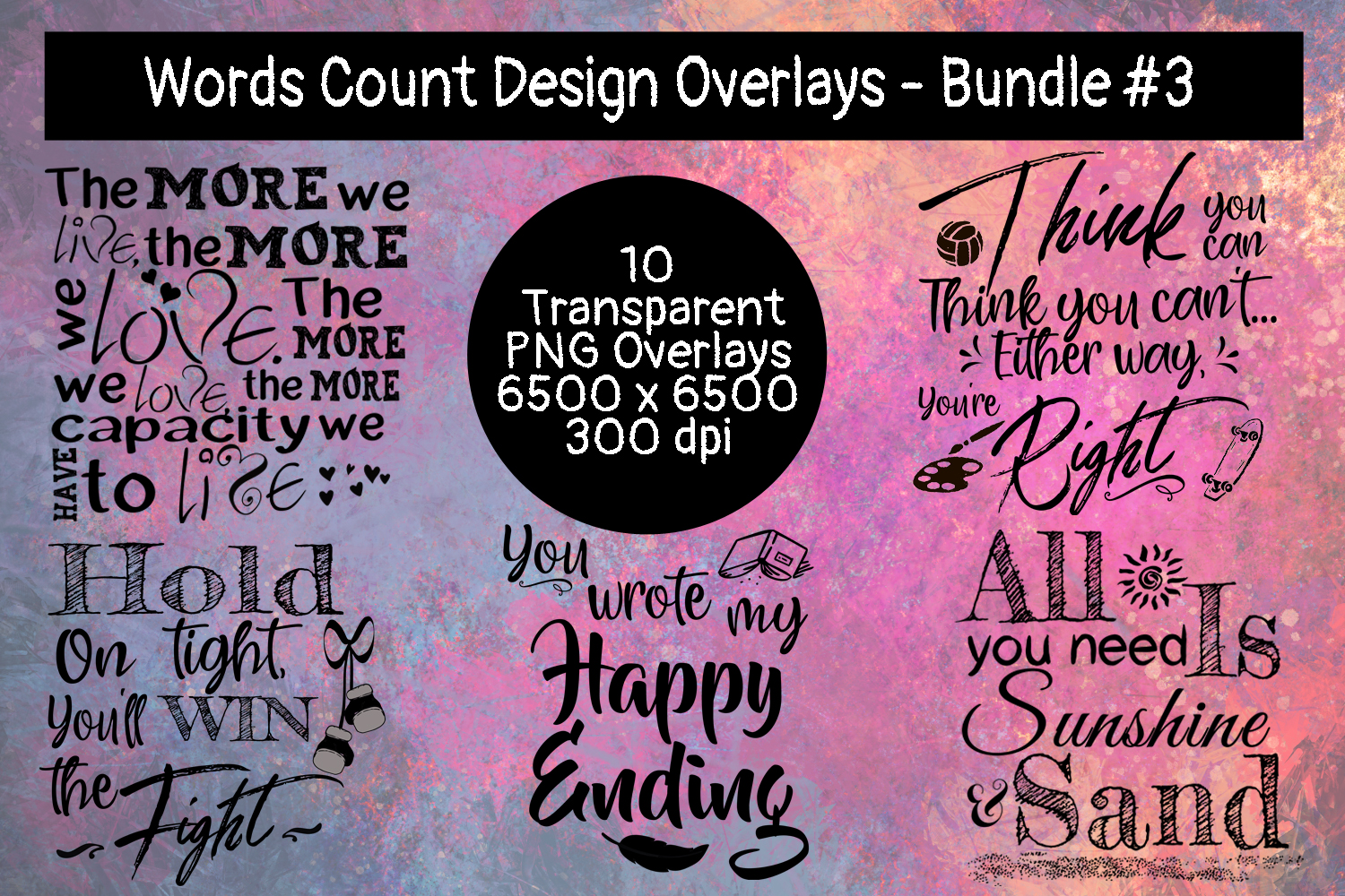Words Count Design Overlays Bundle #3 example image 2
