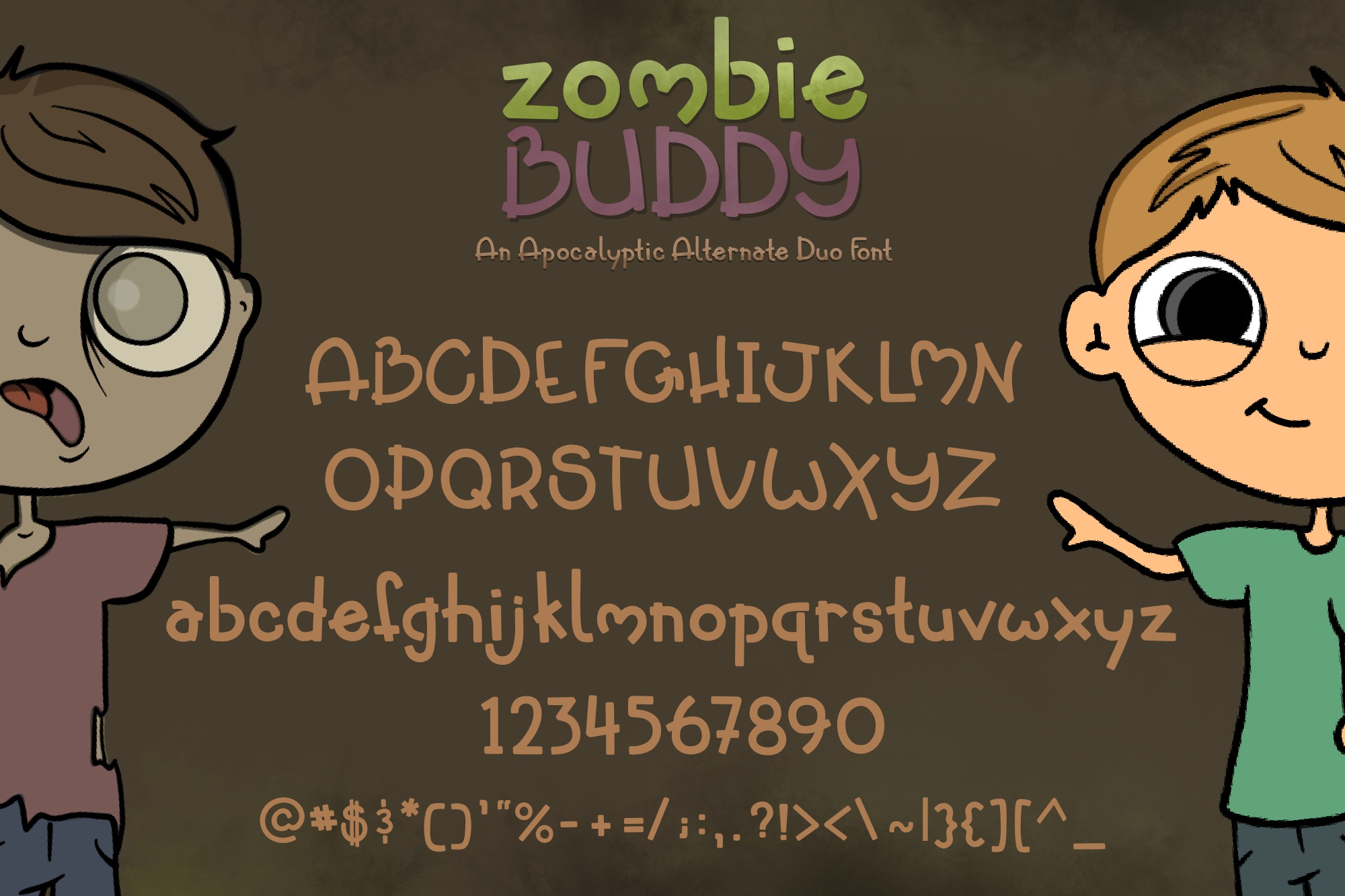 Zombie Buddy| An Apocalyptic Alternate Duo Font example image 2