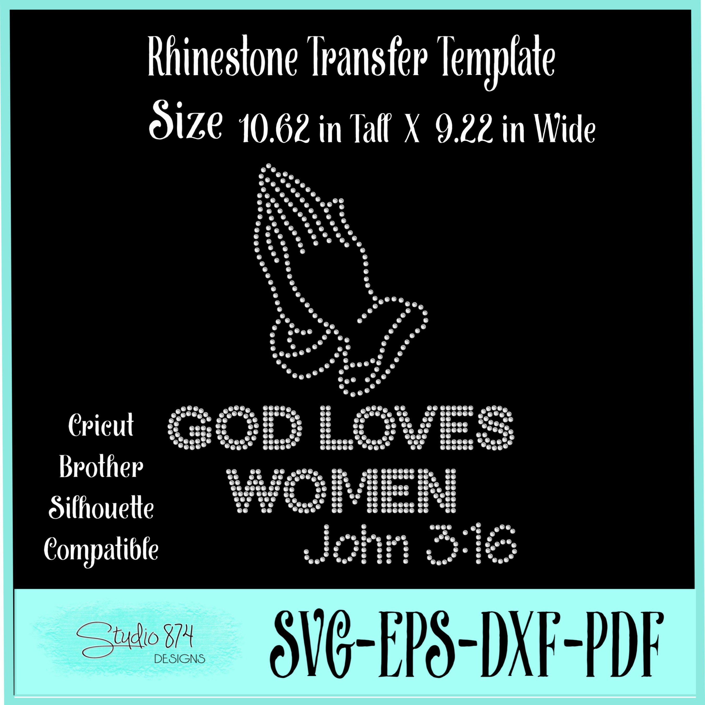Faith Religious Rhinestone SVG Template - God Loves Women example image 2