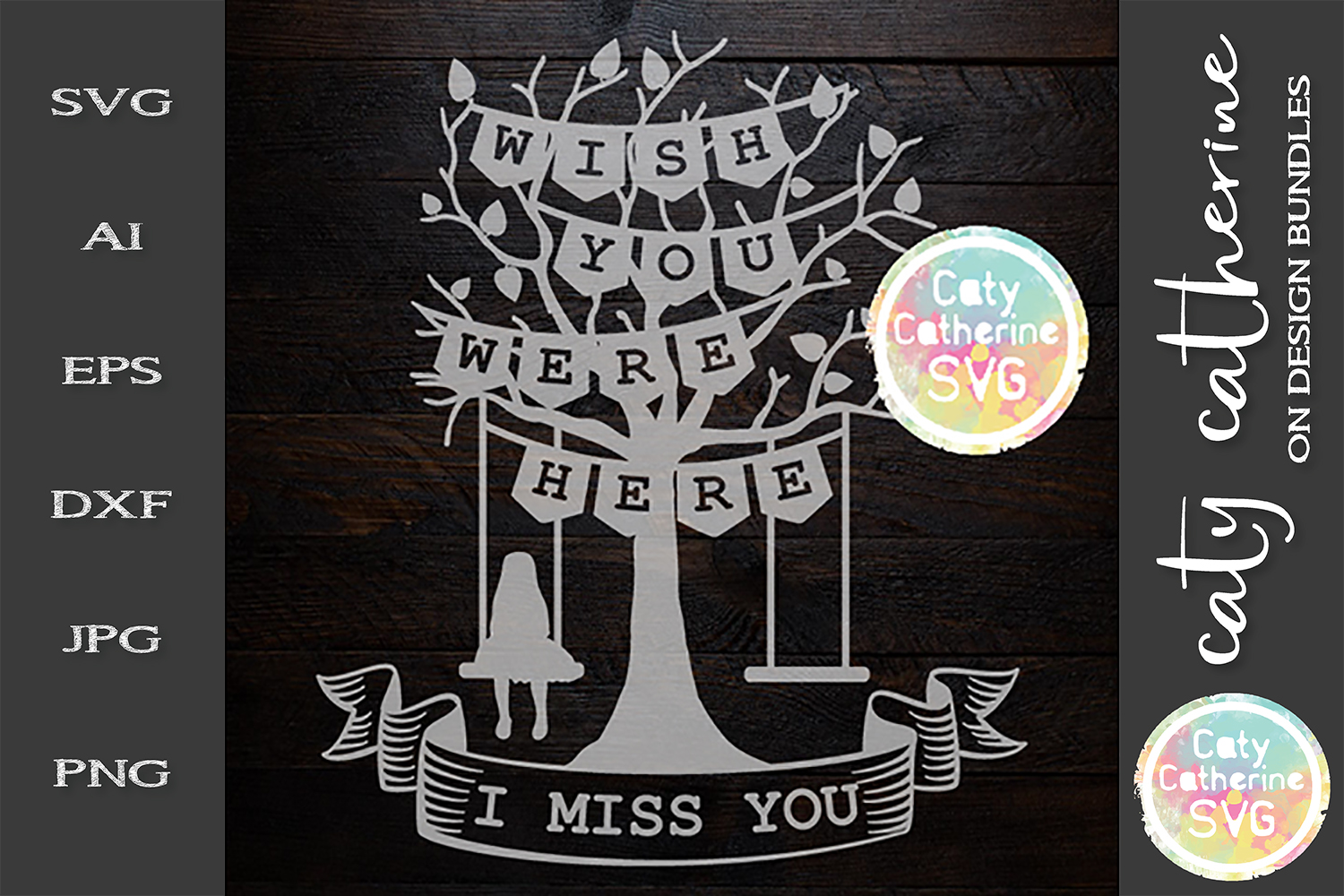 Wish You Were Here I Miss You Love Oned Tree Swing Woman SVG example image 1