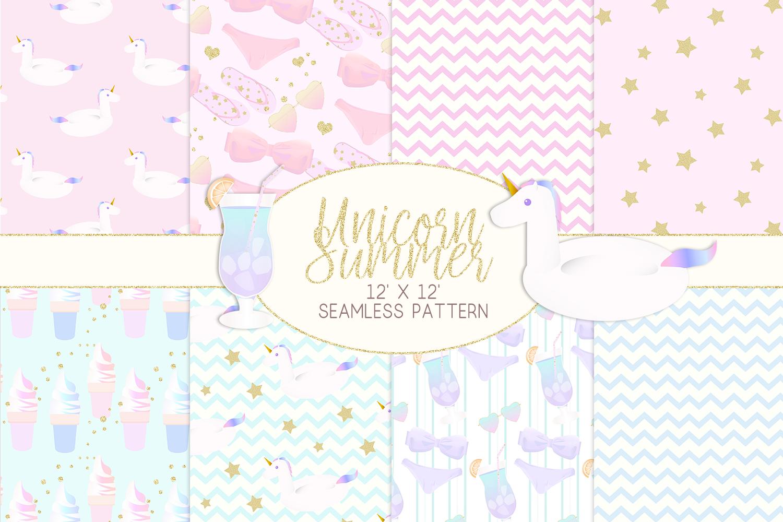 Unicorn Summer Digital Paper example image 1