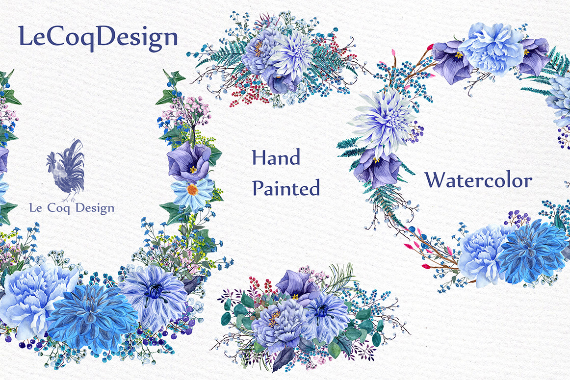 Watercolor wedding wreaths clipart example image 3