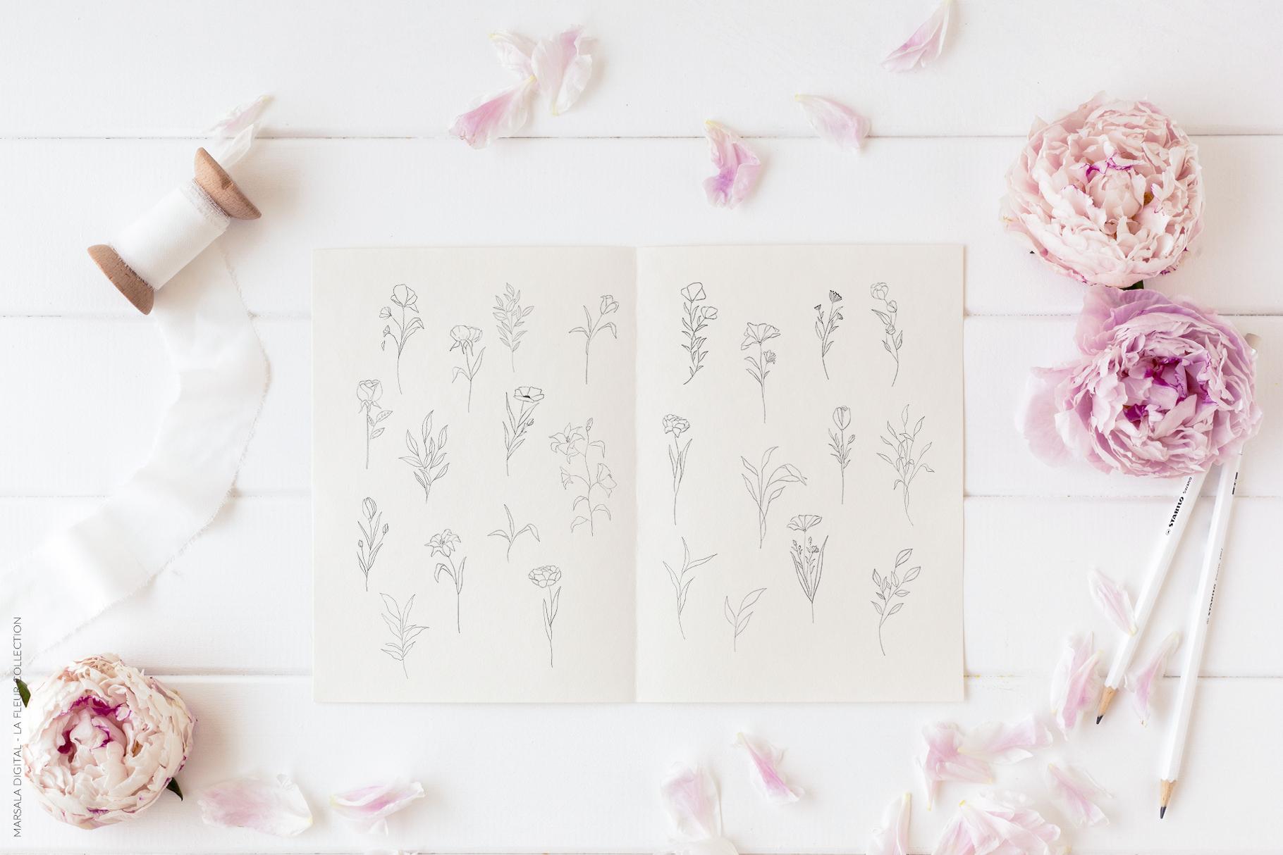 Floral Pencil Sketches Line Art - La fleur example image 9