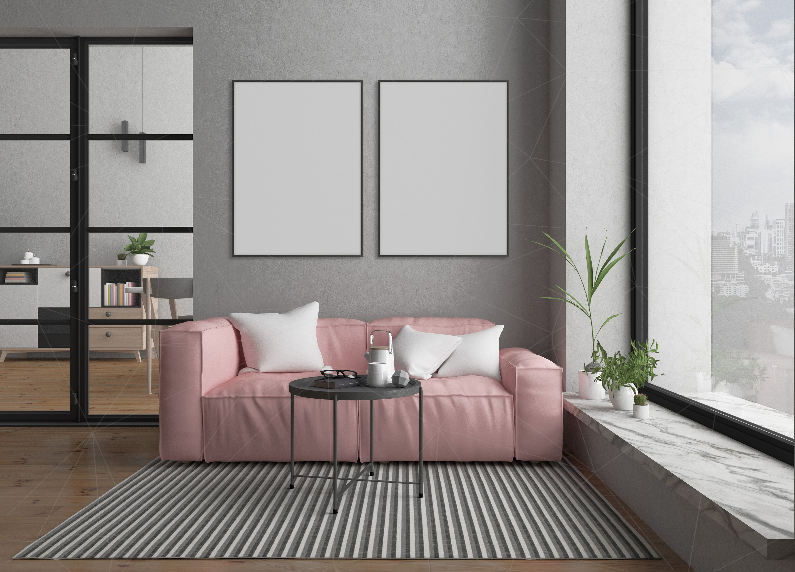 Interior mockup bundle - blank wall mock up example image 3
