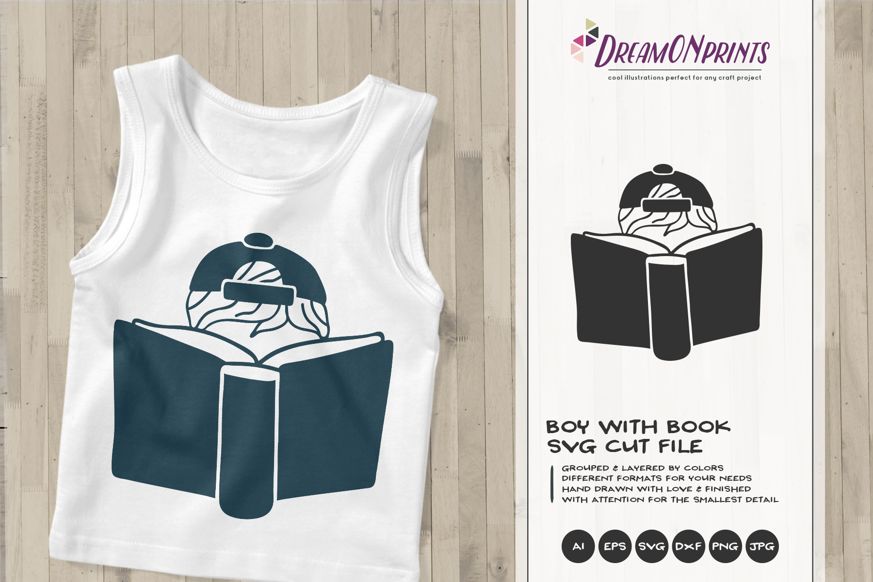 Boy Reading Book SVG | Book Lover SVG Design example image 1