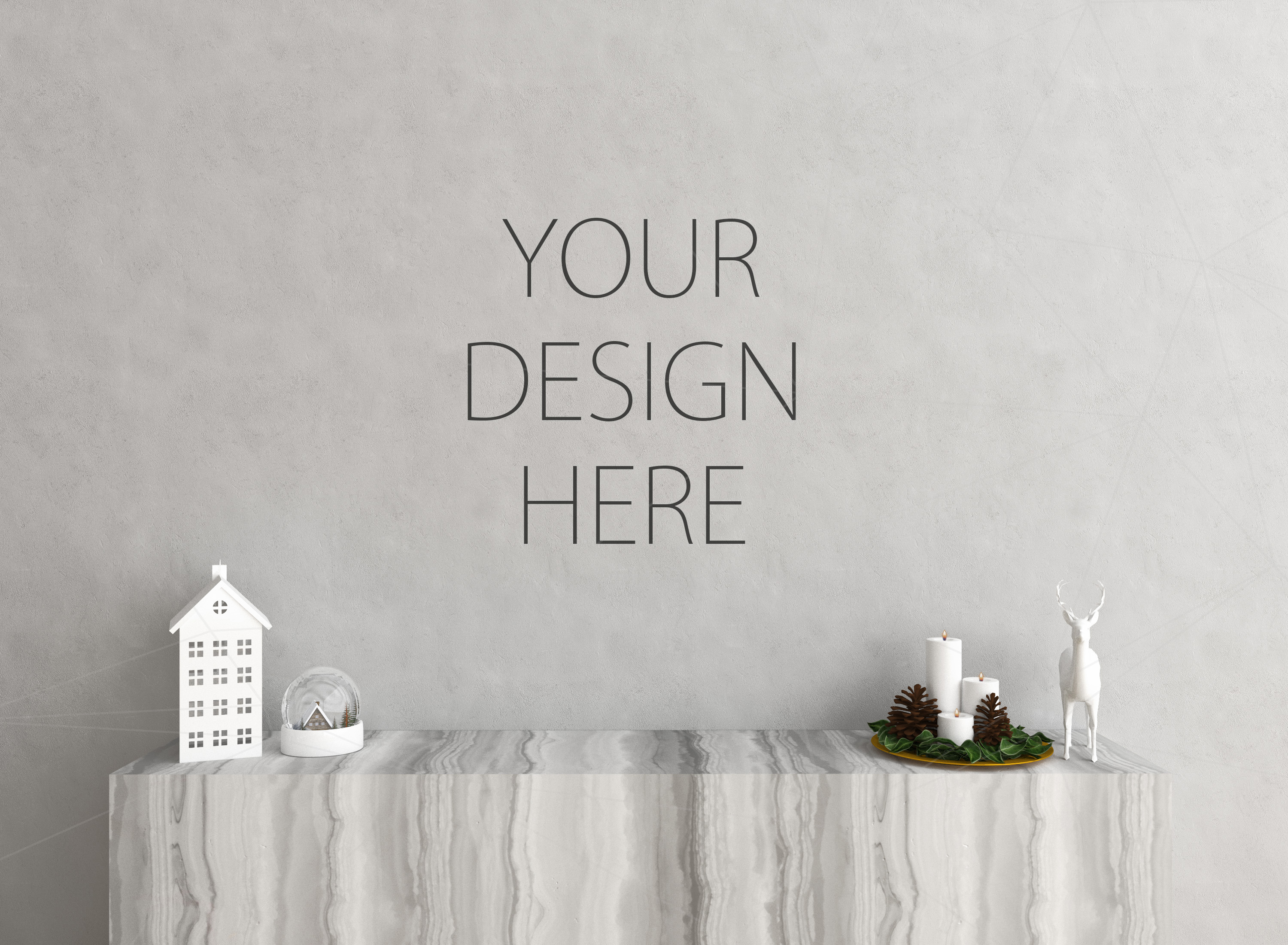 Christmas interior mockup bundle - blank wall mock up example image 2