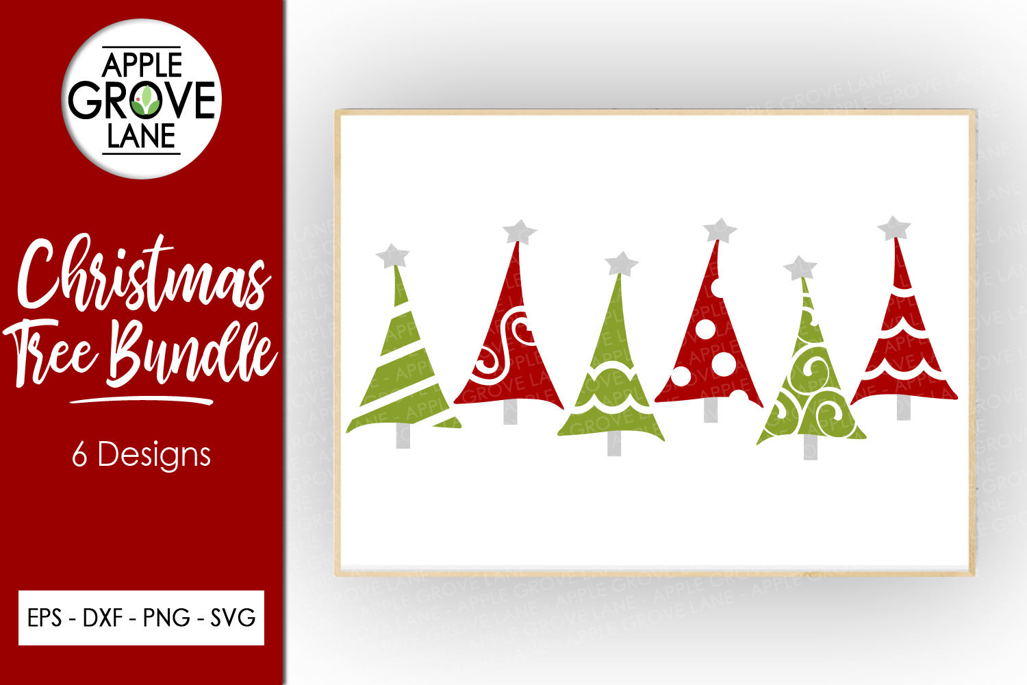 Christmas Tree Svg Bundle - 6 designs included - Svg File example image 1