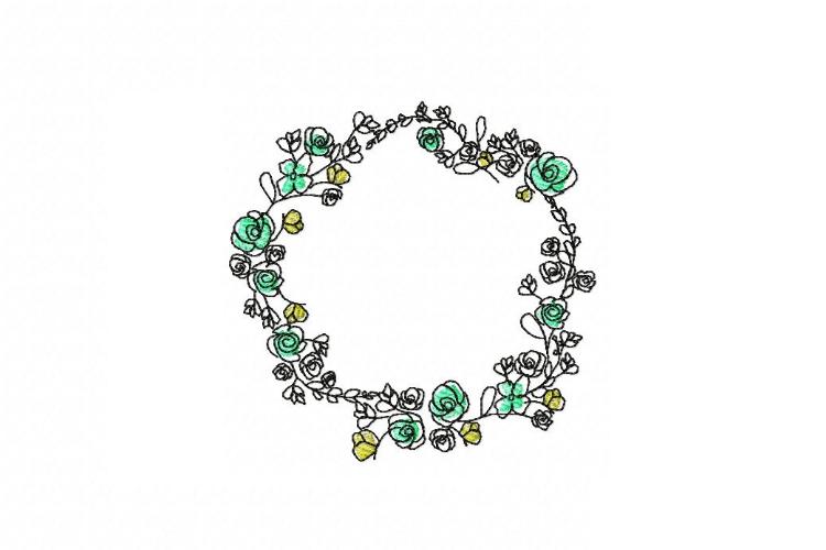 Doodle Floral Wreath monogram font border frame in 3 sizes example image 4