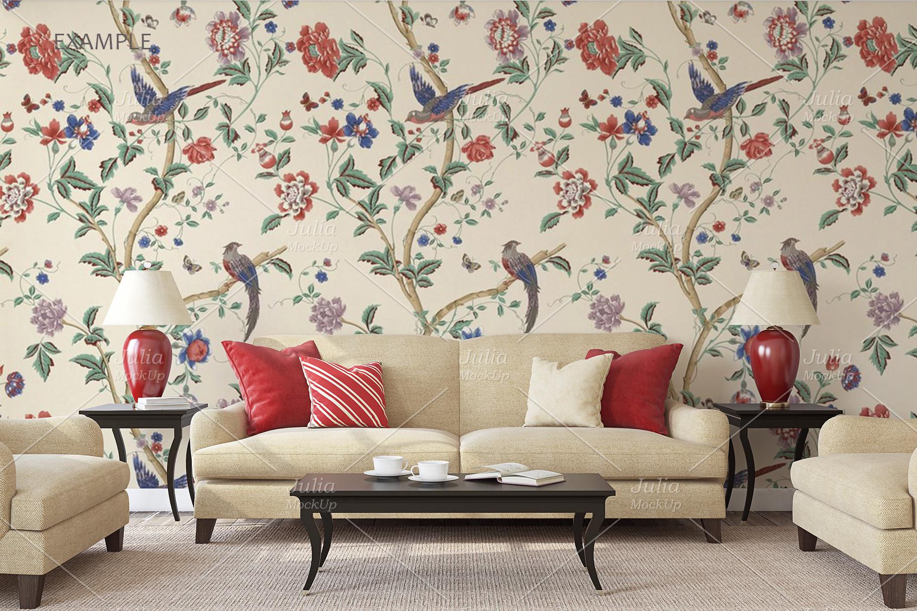 Living-room interiors. Wall&Frames Mockup. example image 9