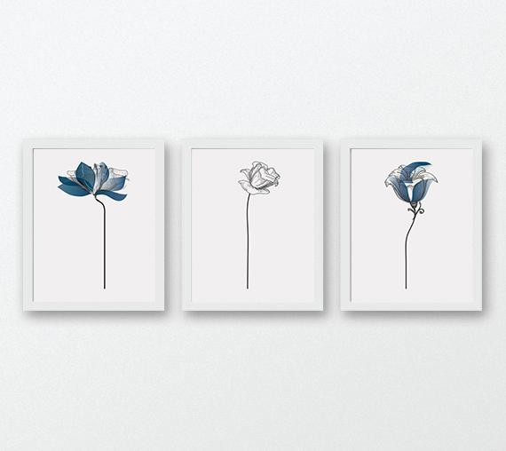 Set of 3 Prints, Flower Wall Art, Blue Prints, 3 Piece Wall Art ...