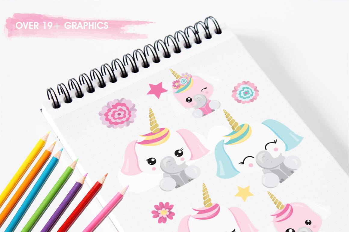 Elephant Unicorn graphic and illustrations example image 5