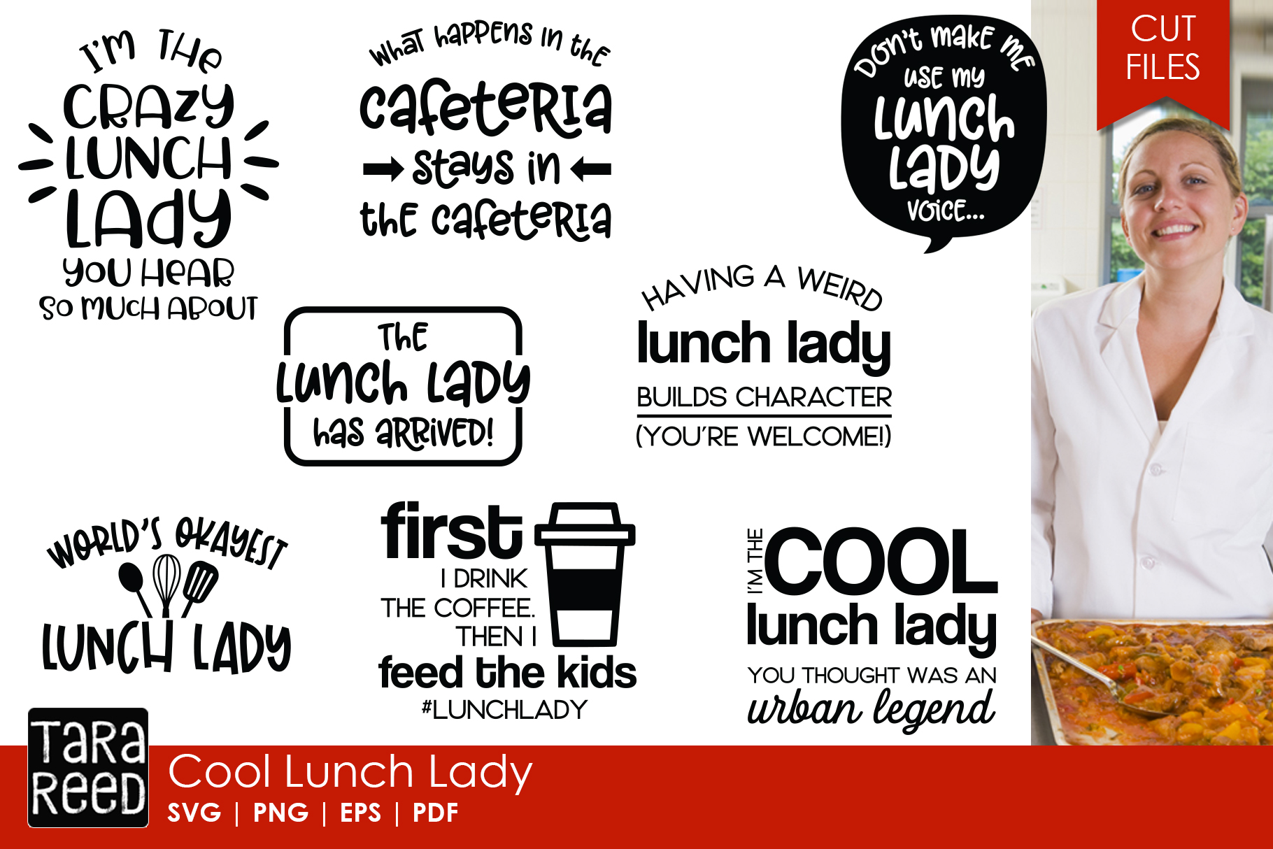 Lunch Lady SVG and Cut Files for Crafters example image 1