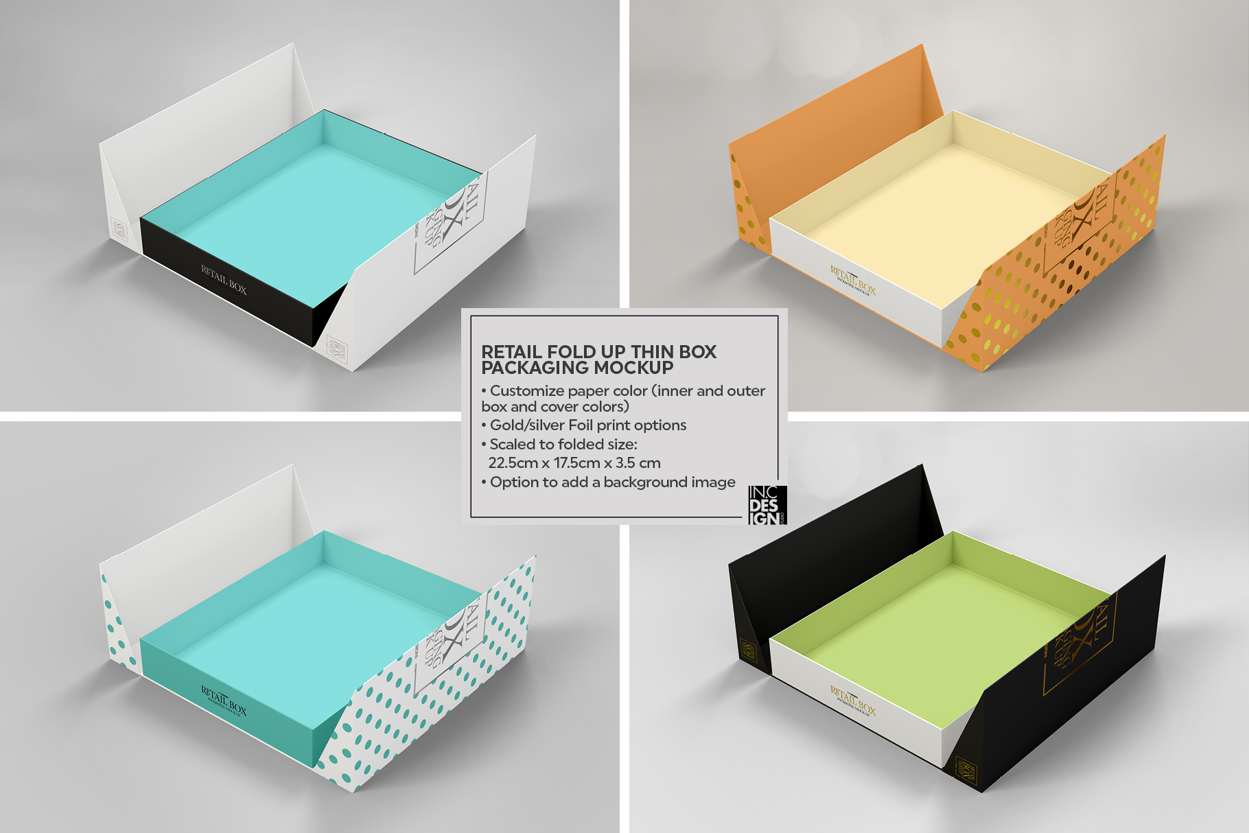 Fold Up Retail Thin Box Packaging Mockup example image 6