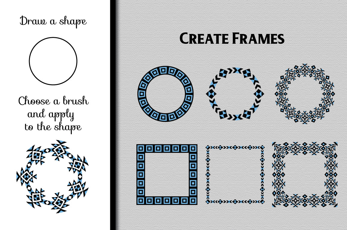 Tribal Pattern Brushes for Adobe Illustrator example image 4