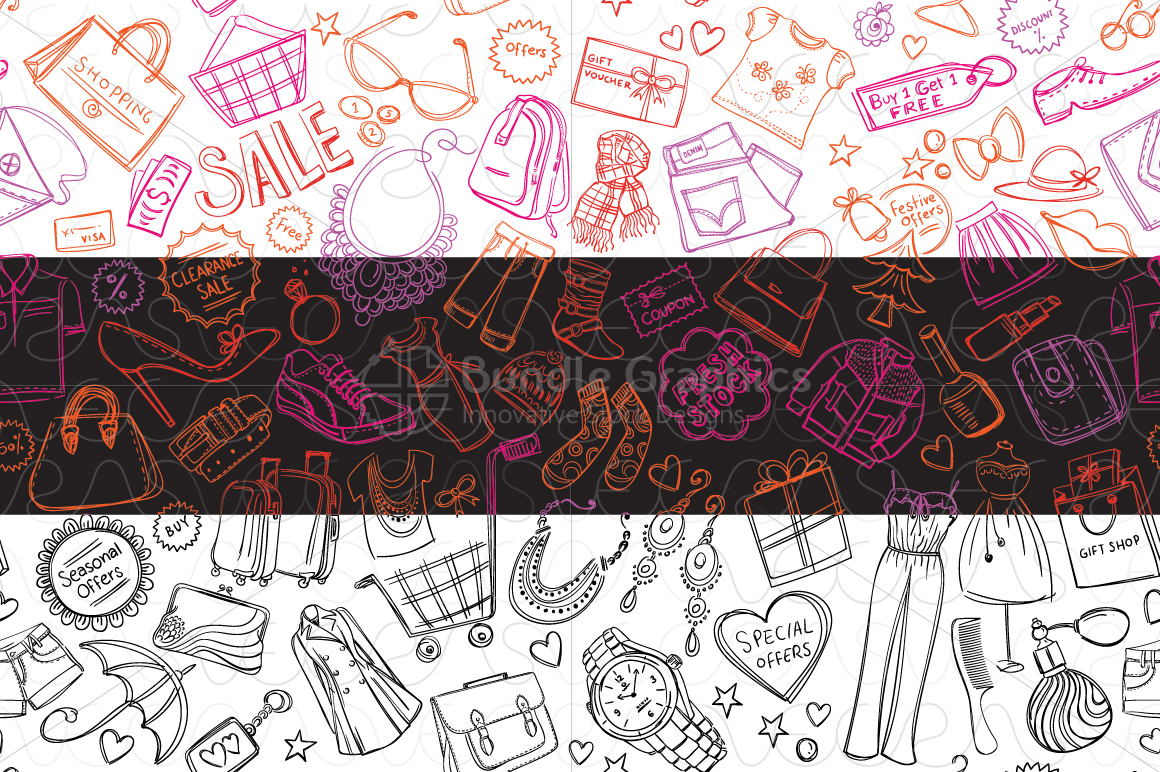 Shopping and Sale Background Pattern example image 2