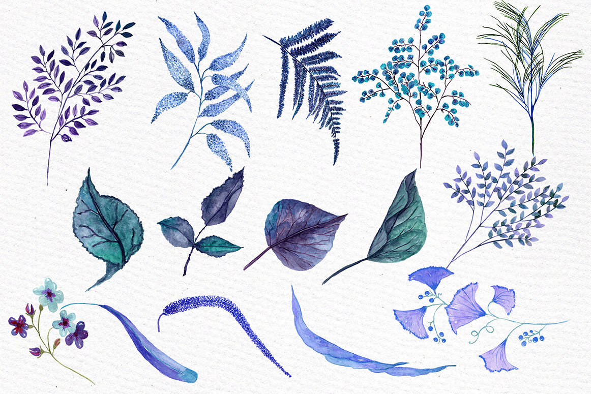 Blue watercolor flowers clipart example image 3