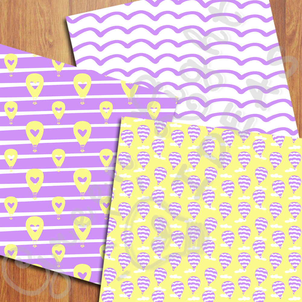 Purple and Yellow Hot Air Balloons Digital Papers example image 3