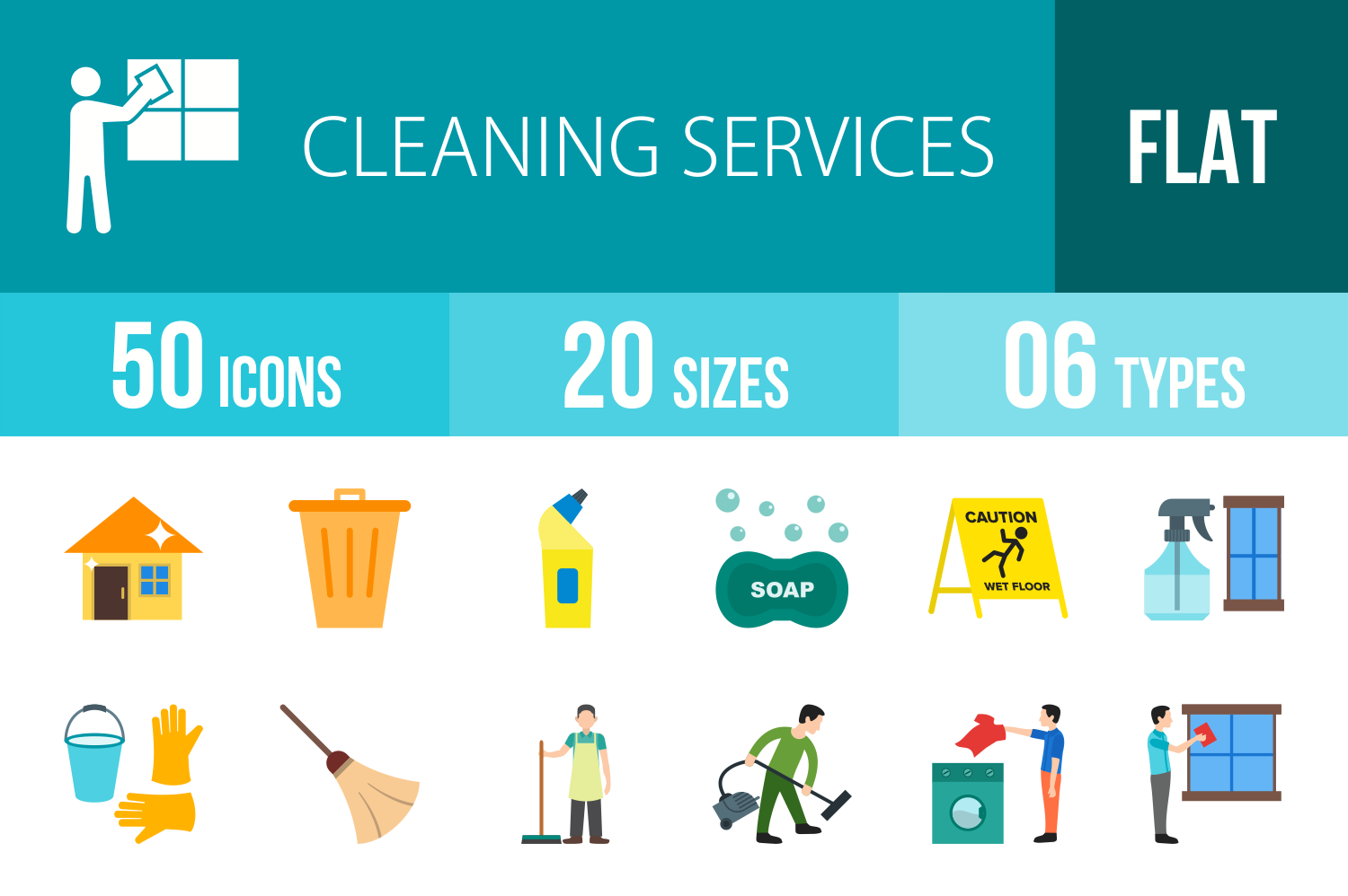 50 Cleaning Services Flat Multicolor Icons example image 1