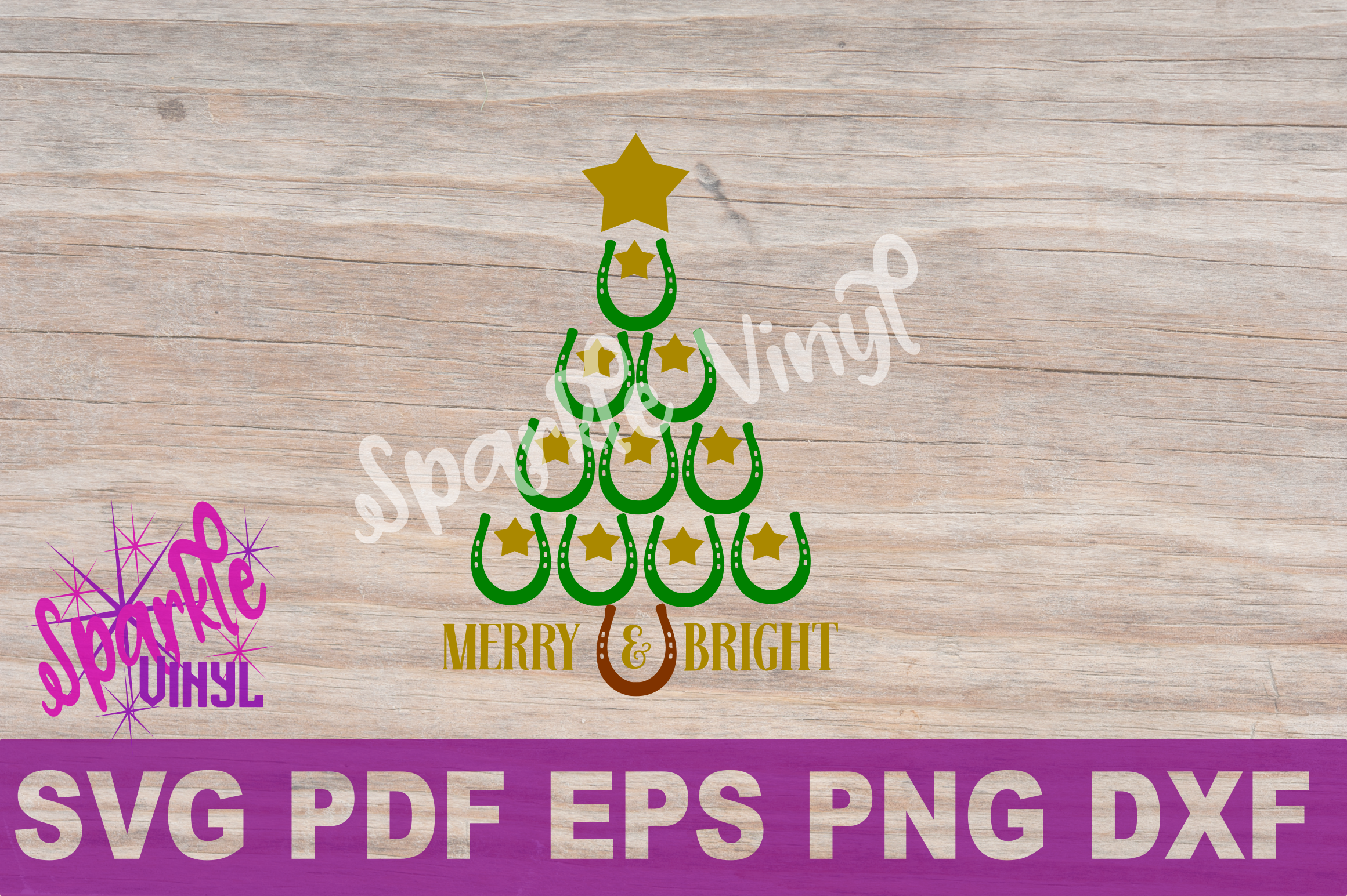 SVG Christmas Cowboy Cowgirl Christmas Horseshoe Tree Merry and Bright Stars Shirt Printable Svg files for cricut silhouette dxf png pdf eps example image 6