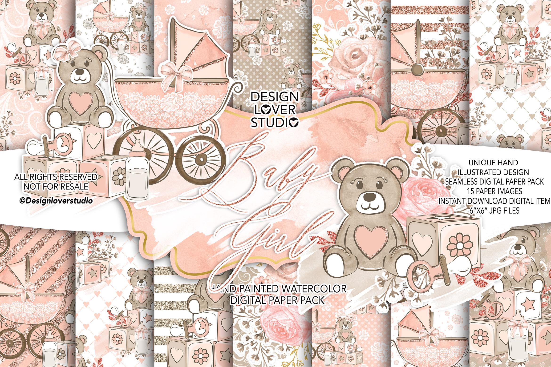 Baby Girl digital paper pack example image 1