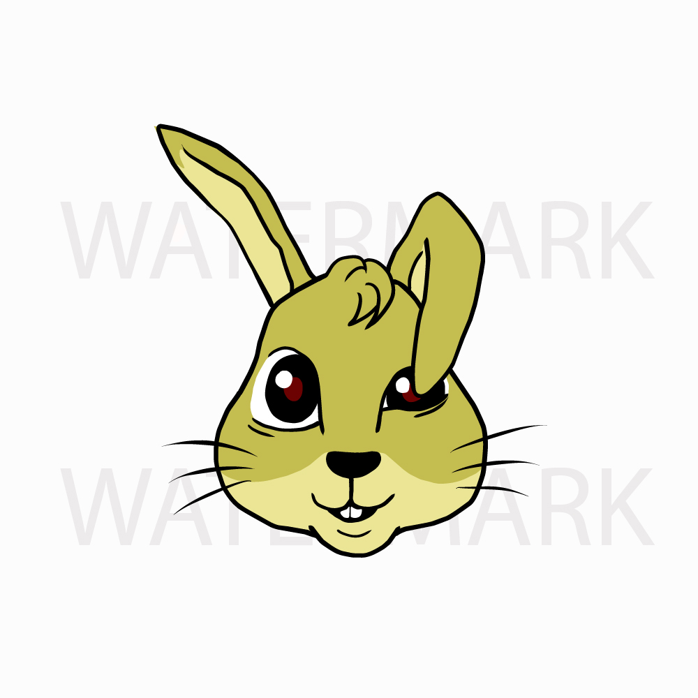 Bunny Rabbit Head so Cute! Type B - SVG/JPG/PNG Hand Drawing example image 3