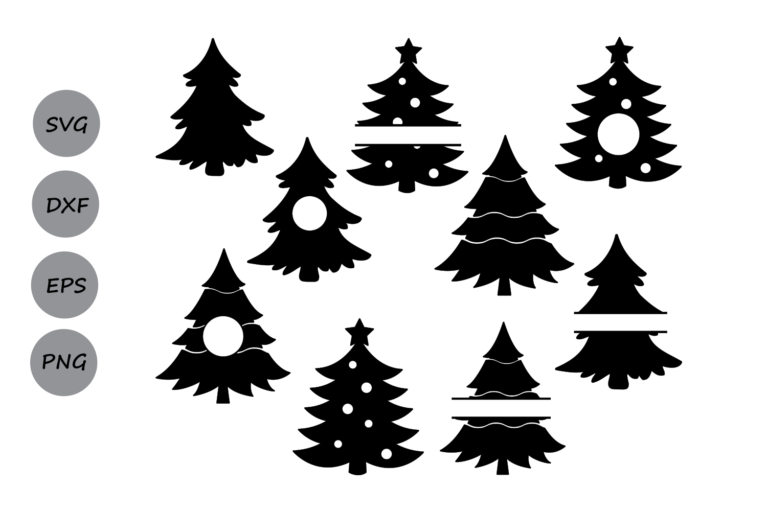 Christmas Tree Svg, Christmas Tree Monogram Svg, Christmas