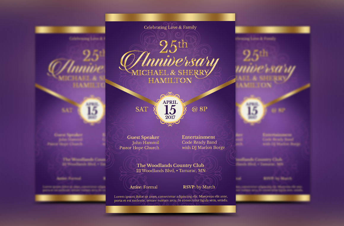 wedding anniversary gala flyer template