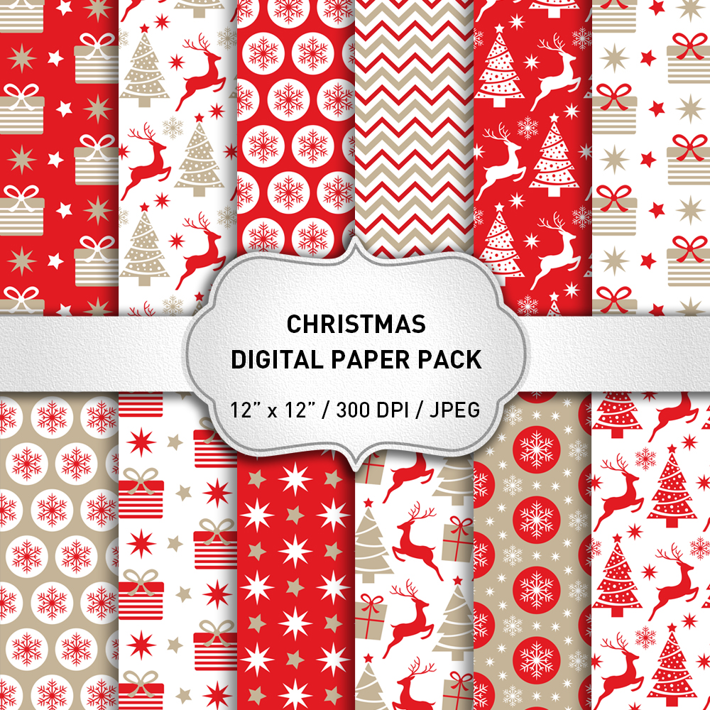 Red Christmas Digital Paper Pack / Backgrounds / Scrapbooking / Patterns / Printables / Card Making example image 1