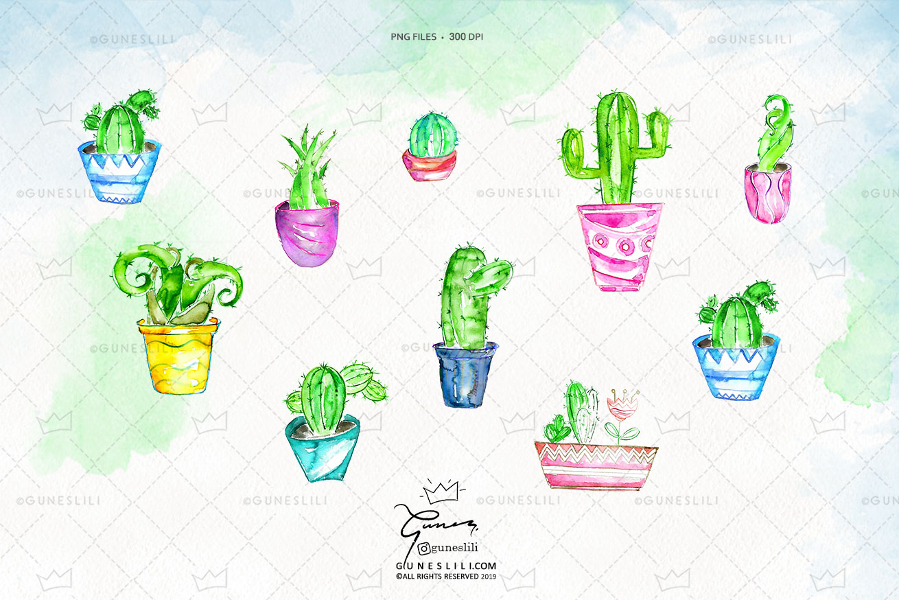 Watercolor Cactus Clipart in pots example image 2