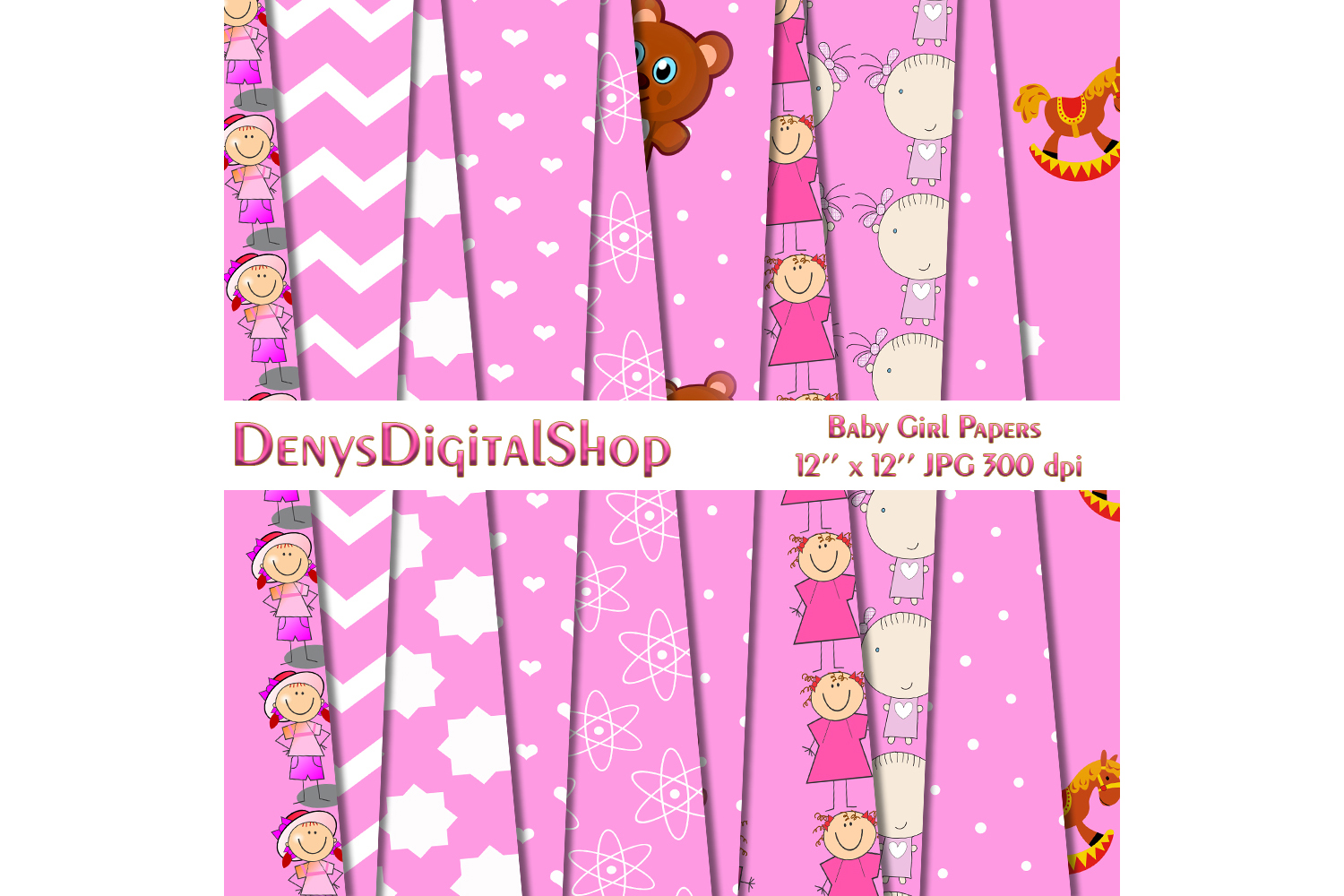 Baby Girls Paper, Girls Patterned, Pink Papers, Baby,50off example image 4