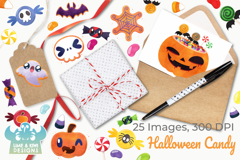 Halloween Candy Watercolor Clipart, Instant Download example image 4
