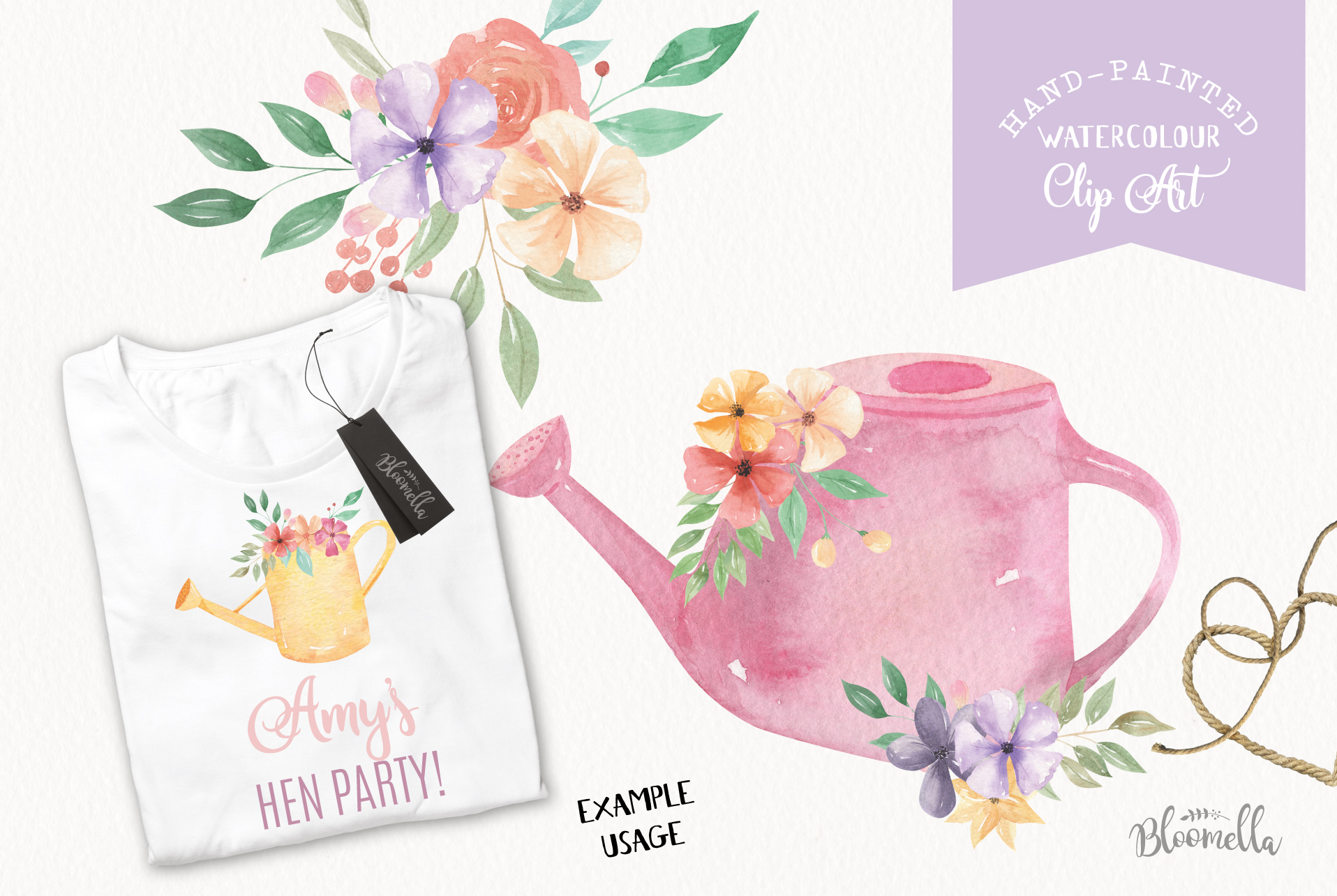 Watering Can Watercolor Floral Spring 12 Bouquets Spring example image 4