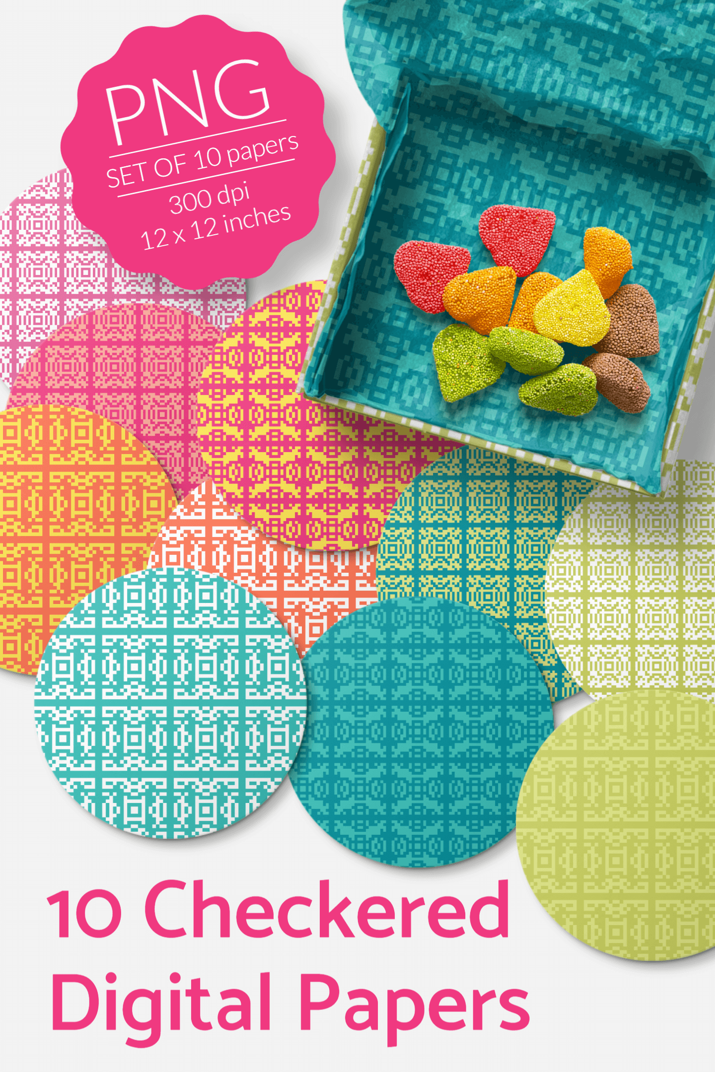 Checkered Digital Collage Sheets - Summer Colors - Geometric example image 2
