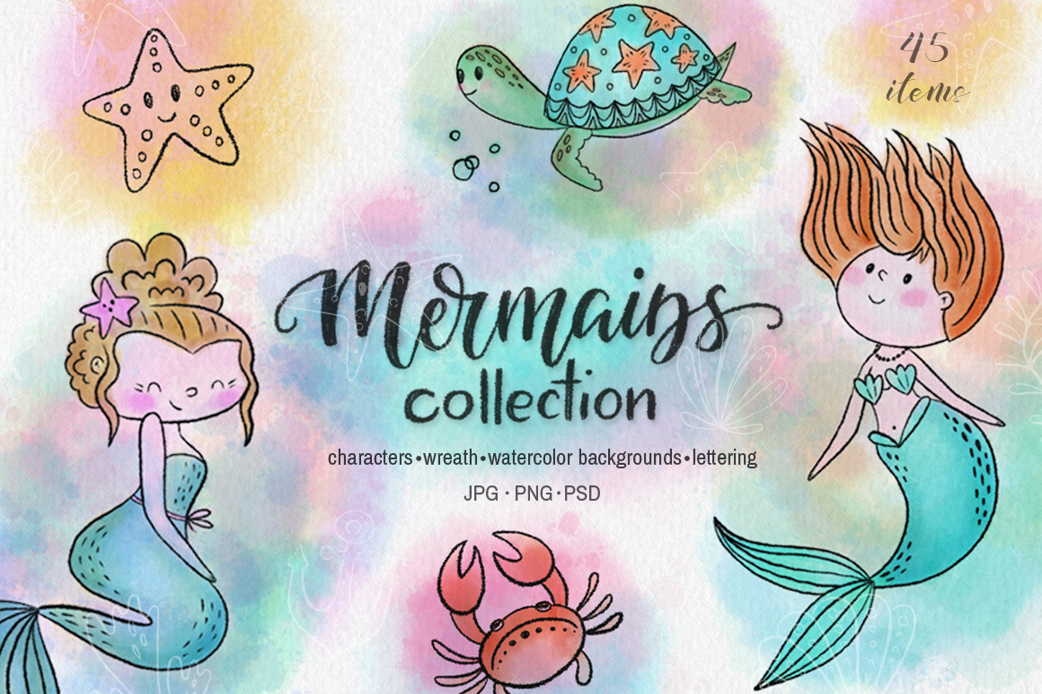 Mermaids watercolor collection example image 1