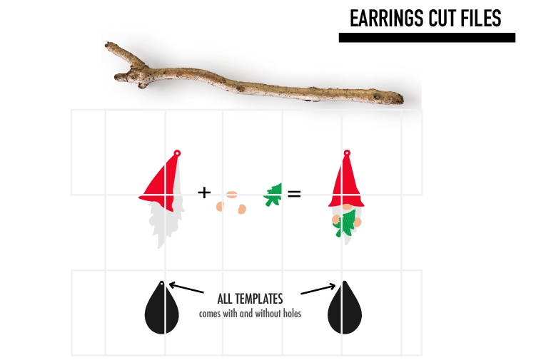 Gnome Chrismtas Earrings Svg / Earrings Template example image 2