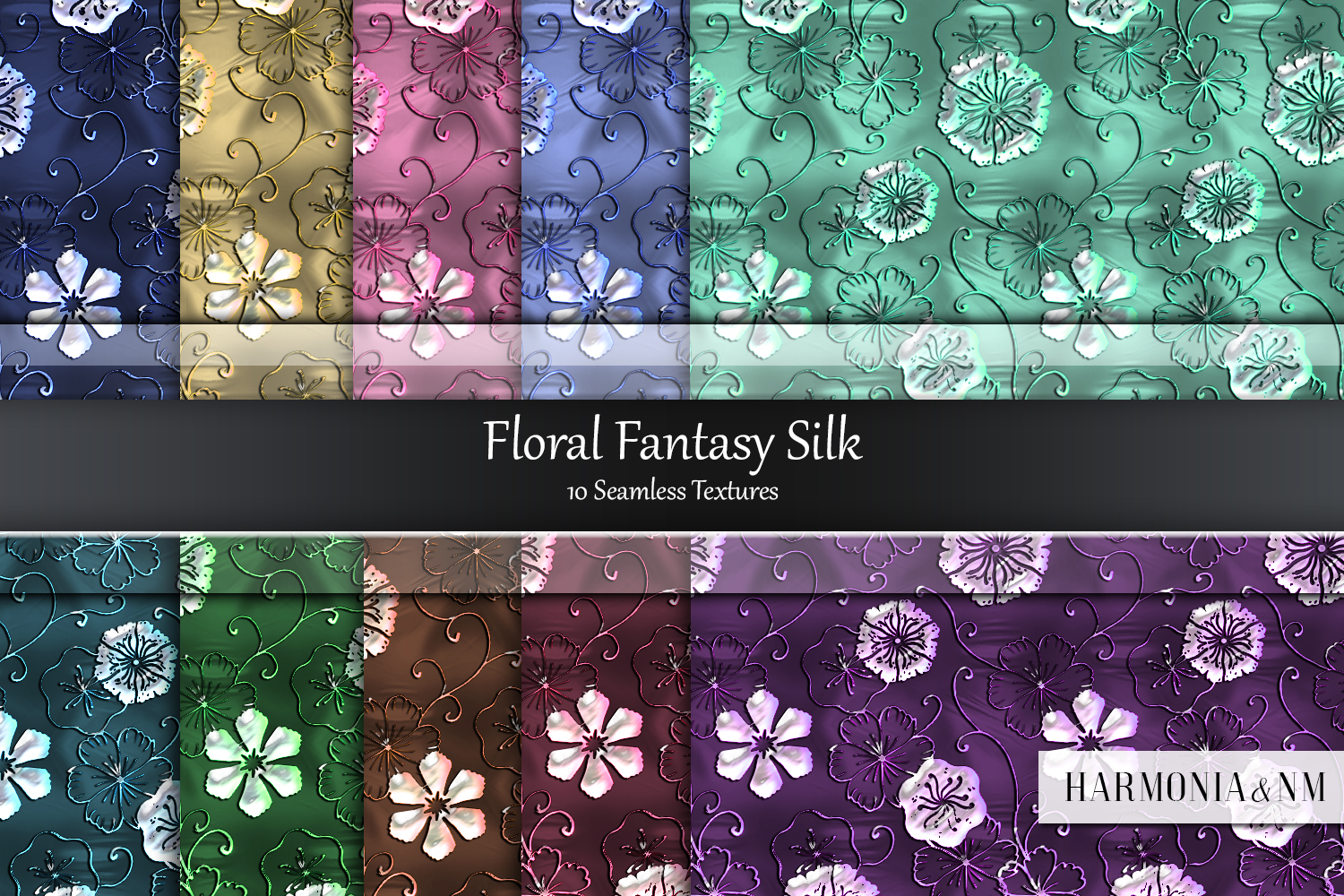 Floral Fantasy Silk 10 Seamless Textures example image 1