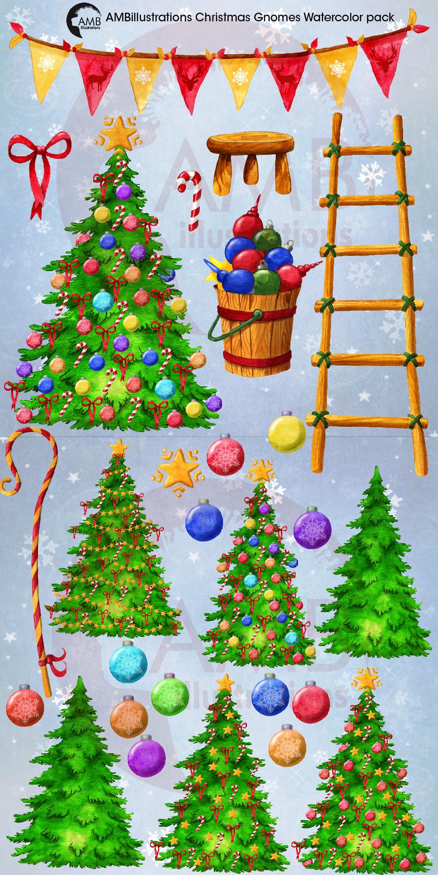 Christmas Gnomes, Scandinavian Gnomes, Watercolour Gnomes, example image 11