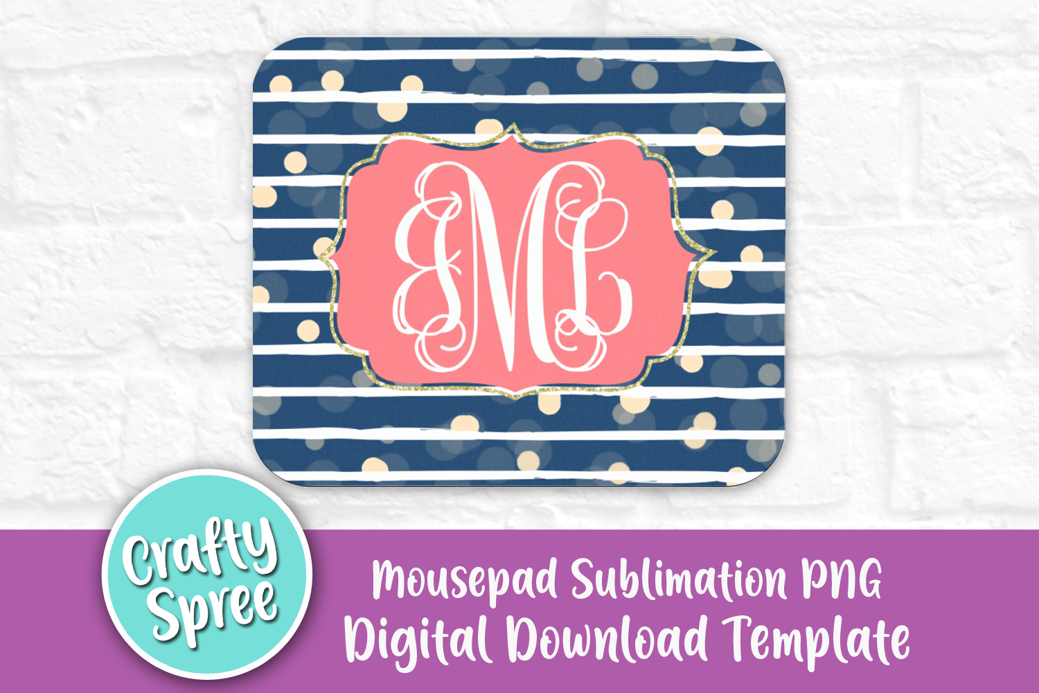 Navy Stripe Mousepad Sublimation Template PNG Peach Coral example image 1