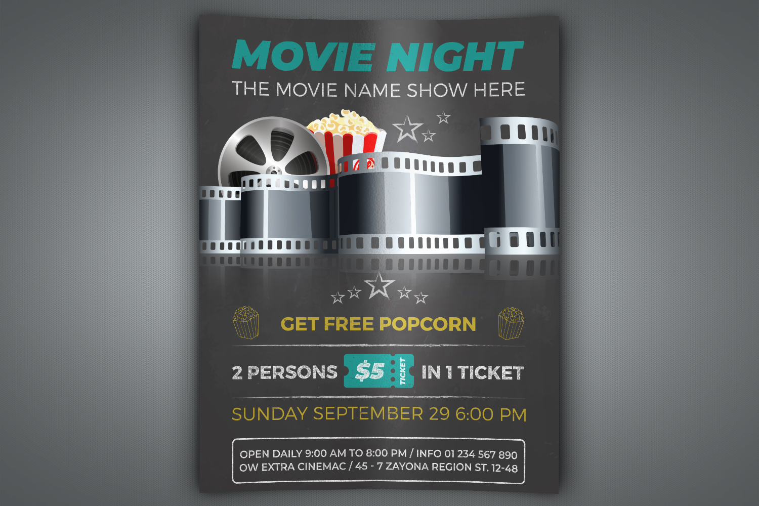 Movie Night - Movie Time Flyer Template example image 1