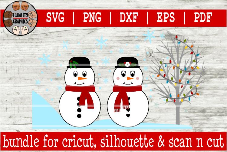 Winter Snowman Bundle SVG | DXF | EPS | PNG | PDF example image 2