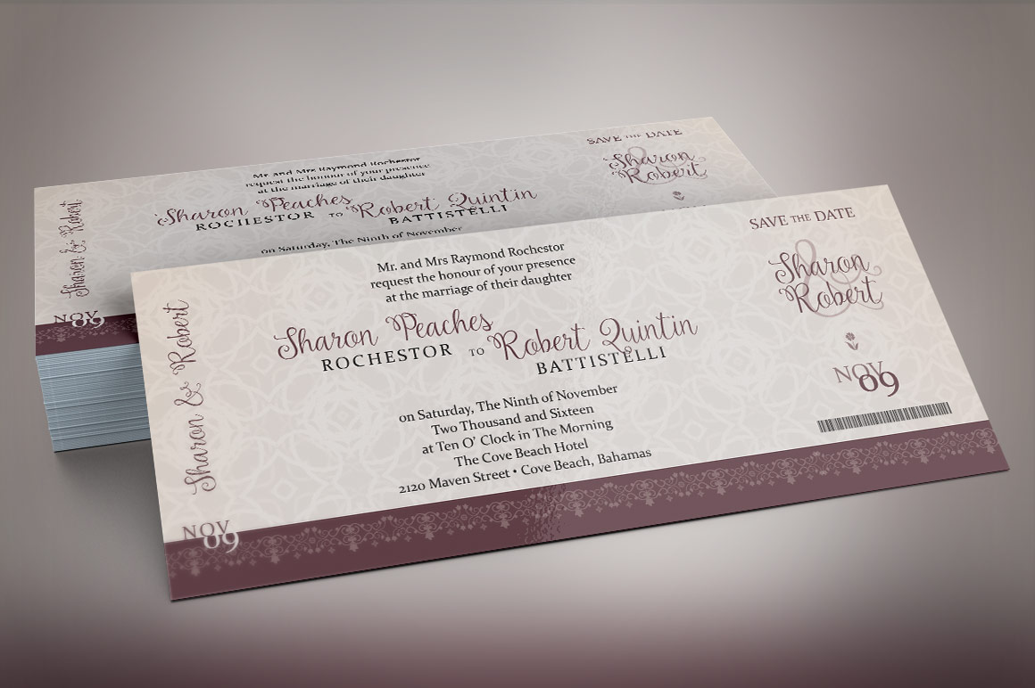 Vintage Boarding Pass Invitation Template example image 1