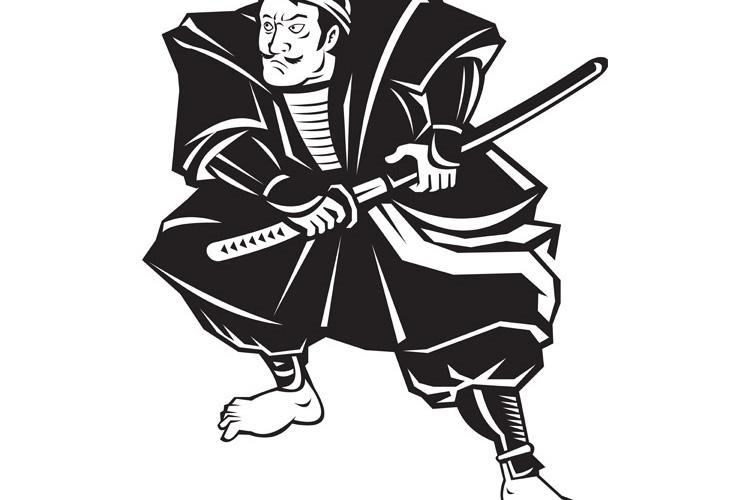 Samurai warrior with katana sword fighting stance example image 1