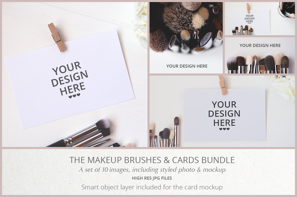 MAKEUP BRUSHES & CARDS BUNDLE example image 1