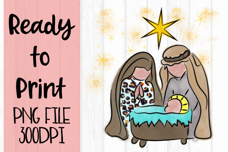 Watercolor Nativity Ready to Print example image 1