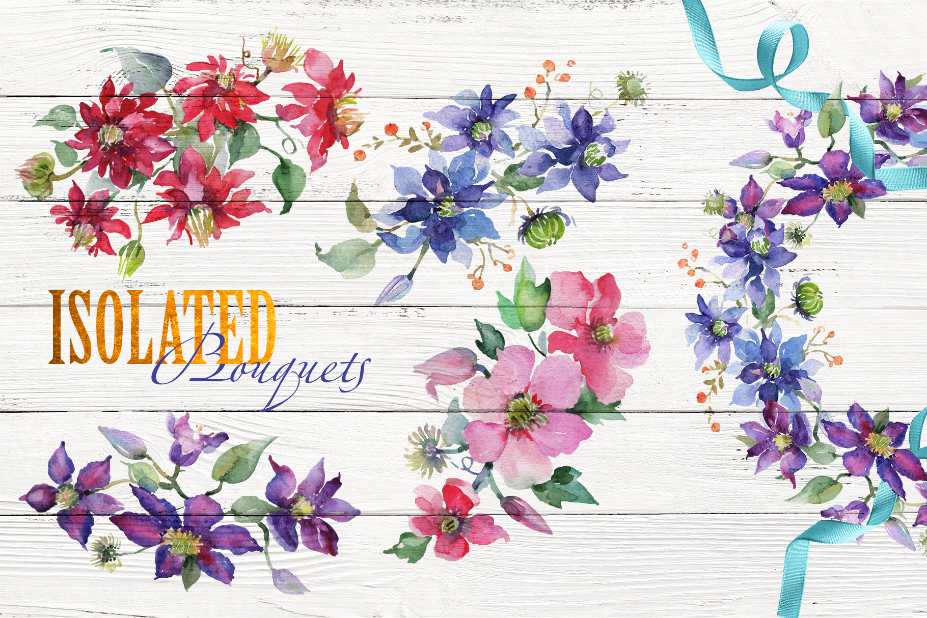 Bright Bouquets Watercolor png example image 8