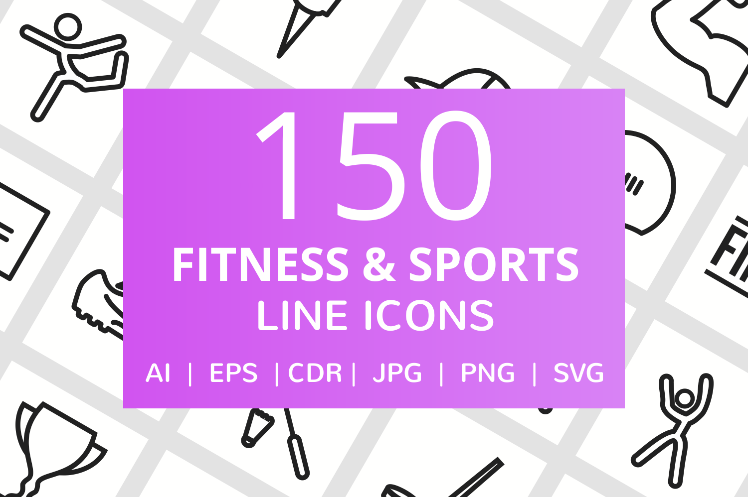 150 Fitness & Sports Line Icons example image 1