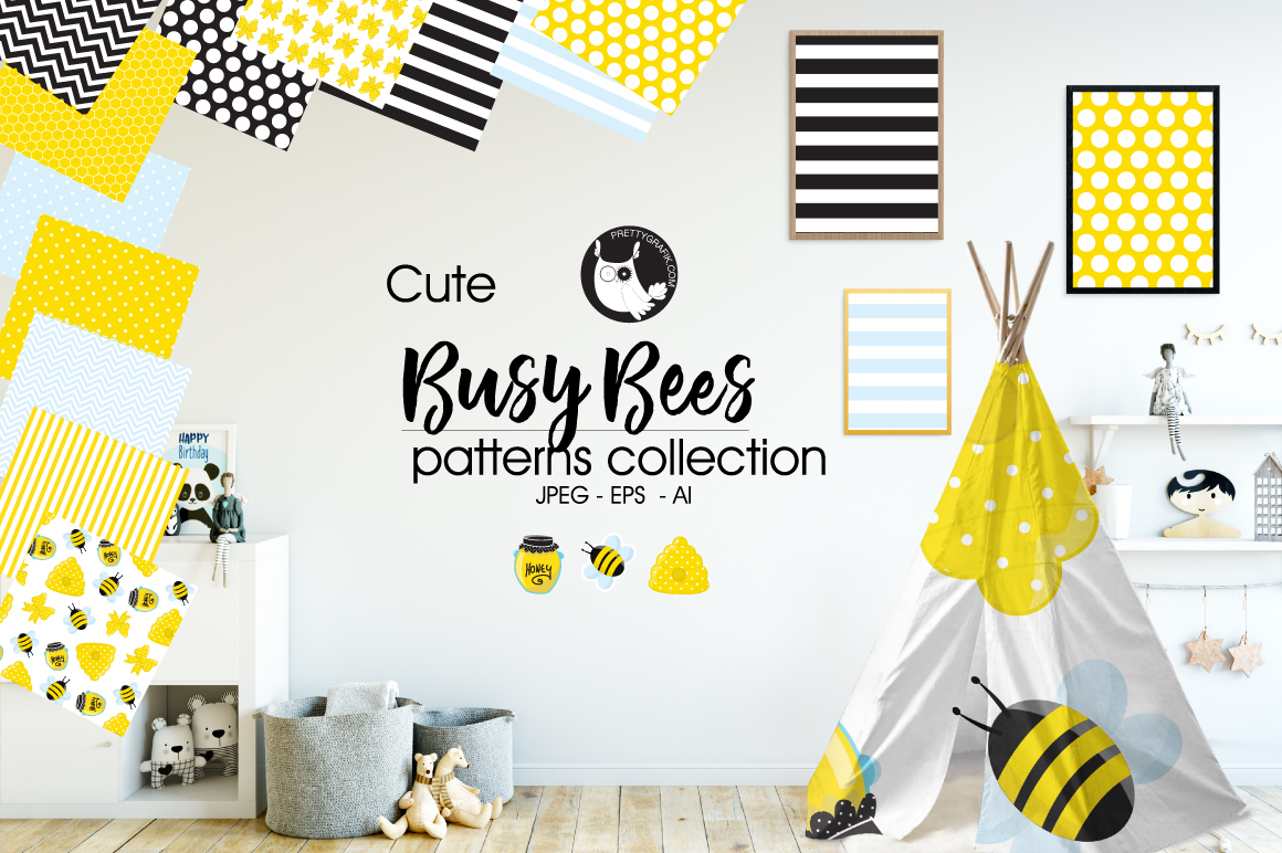 Busy Bees, digital papers example image 1