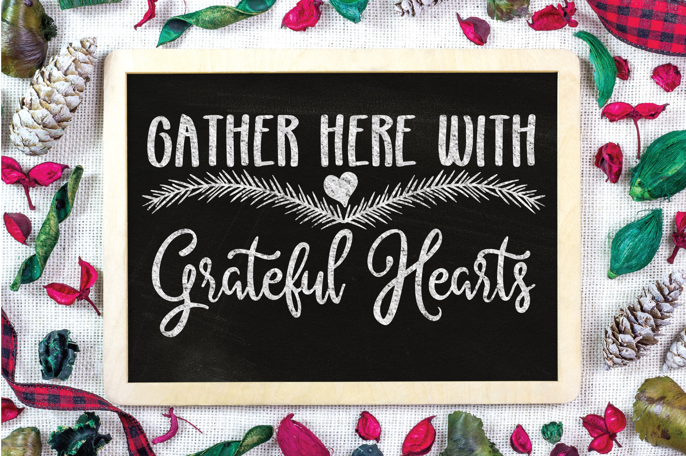 Christmas SVG Cut File -Gather Here with Grateful Hearts SVG example image 2