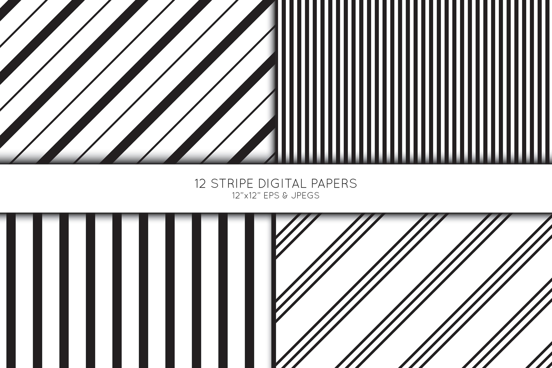 Stripe Digital Paper, Striped Scrapbook paper example image 2
